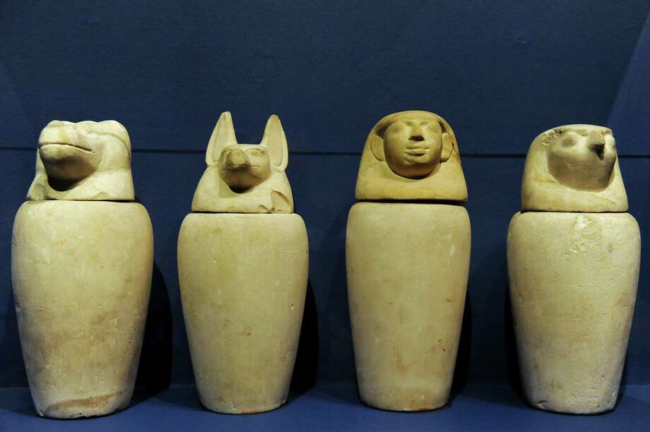 Set of Canopic limestone jars, which contained organs, from the Third Intermediate Period are part of GE Presents: The Mystery of the Albany Mummies on Tuesday, Sept. 17, 2013, at the Albany Institute of History and Art in Albany, N.Y. The exhibit opens Saturday, Sept. 21. (Cindy Schultz / Times Union) Photo: Cindy Schultz / 00023891A
