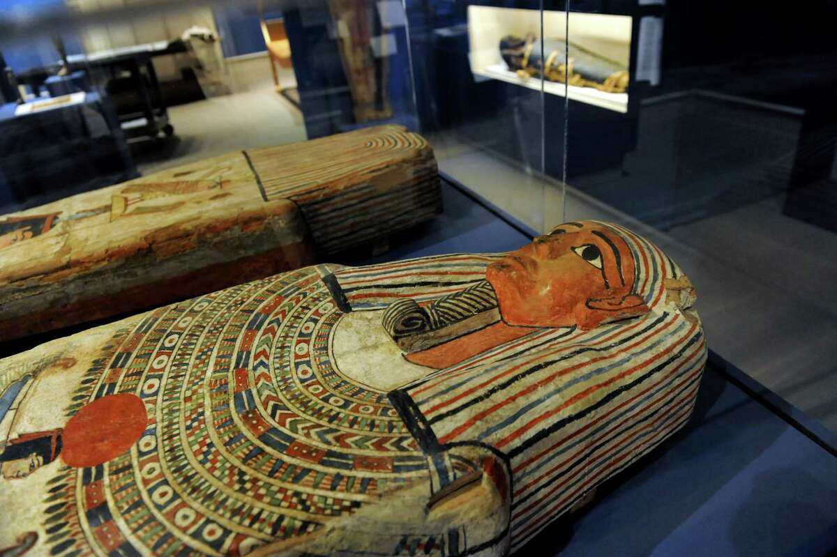 Ptolemaic Period coffin lid and bottom are part of GE Presents: The Mystery of the Albany Mummies on Tuesday, Sept. 17, 2013, at the Albany Institute of History and Art in Albany, N.Y. The exhibit opens Saturday, Sept. 21. (Cindy Schultz / Times Union)