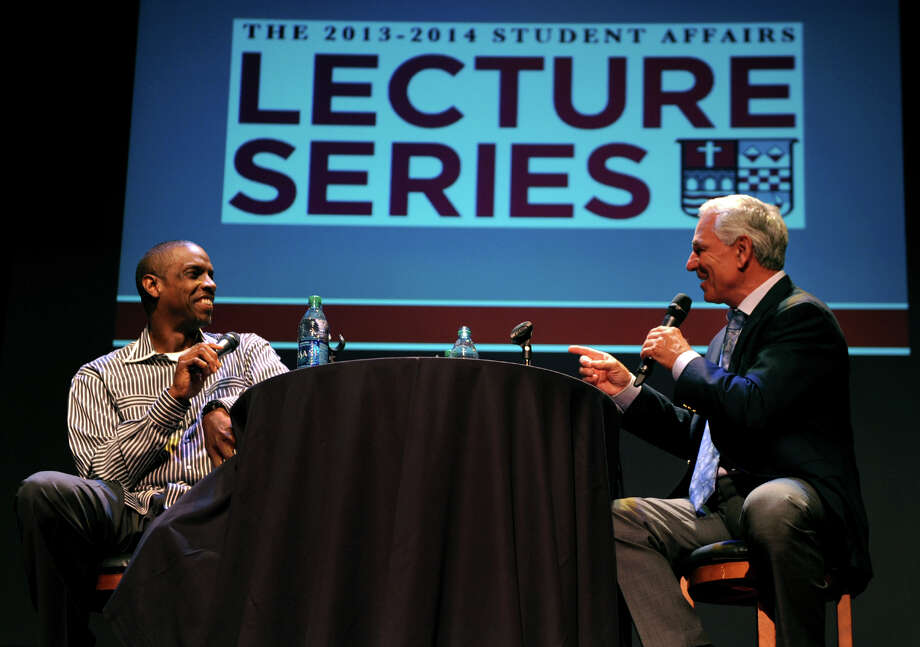 Bobby Valentine, right, and Dwight Gooden talk about their baseball careers as they take part in the 2013-2014 Student Affairs Lecture Series at Sacred Heart University's Edgerton Center for the Performing Arts in Fairfield, Conn. on Wednesday September 18, 2013. Photo: Christian Abraham / Connecticut Post
