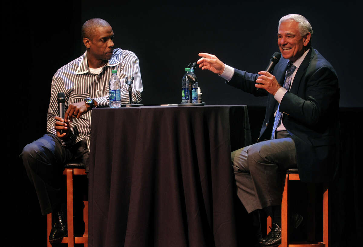 Bobby Valentine, right, and Dwight Gooden talk about their baseball careers as they take part in the 2013-2014 Student Affairs Lecture Series at Sacred Heart University's Edgerton Center for the Performing Arts in Fairfield, Conn. on Wednesday September 18, 2013.