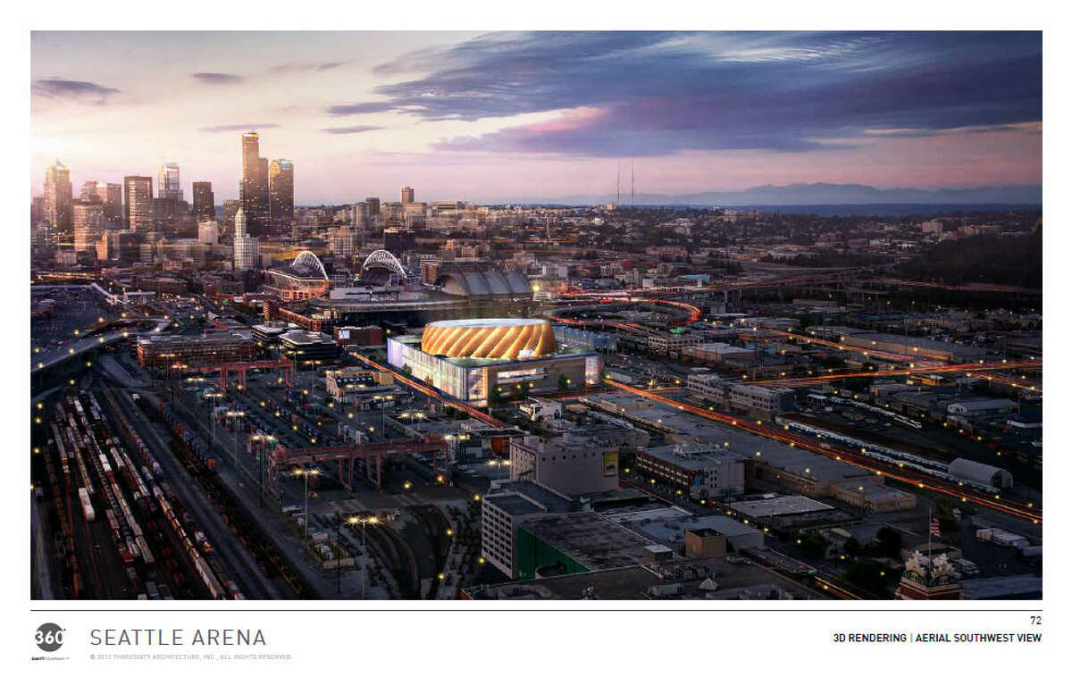 Here's the arena situated in its proposed place south of the Safeco Field parking garage along First Avenue South, where investor Chris Hansen has already bought land.