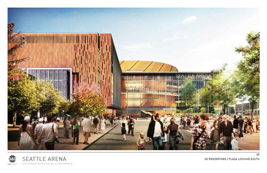 Another view of the main entrance, looking dead south from Occidental Avenue, which would be vacated under the current arena proposal. Photo: Via Seattle DPD, 360 Architects