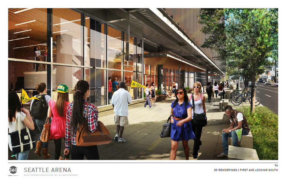 People walk alongside the proposed arena down First Avenue South. Photo: Via Seattle DPD, 360 Architects