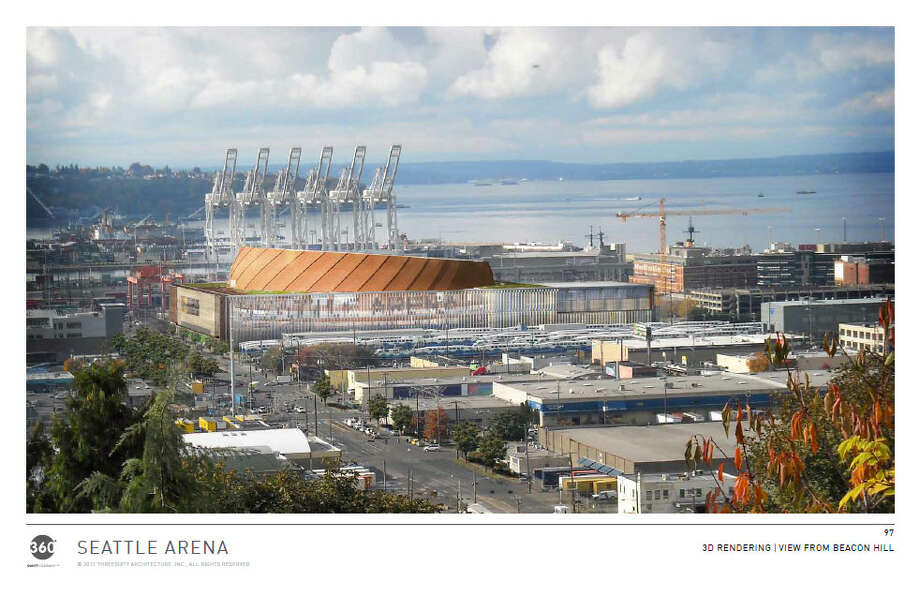 View of the proposed arena looking due west from the top of Beacon Hill. Photo: Via Seattle DPD, 360 Architects