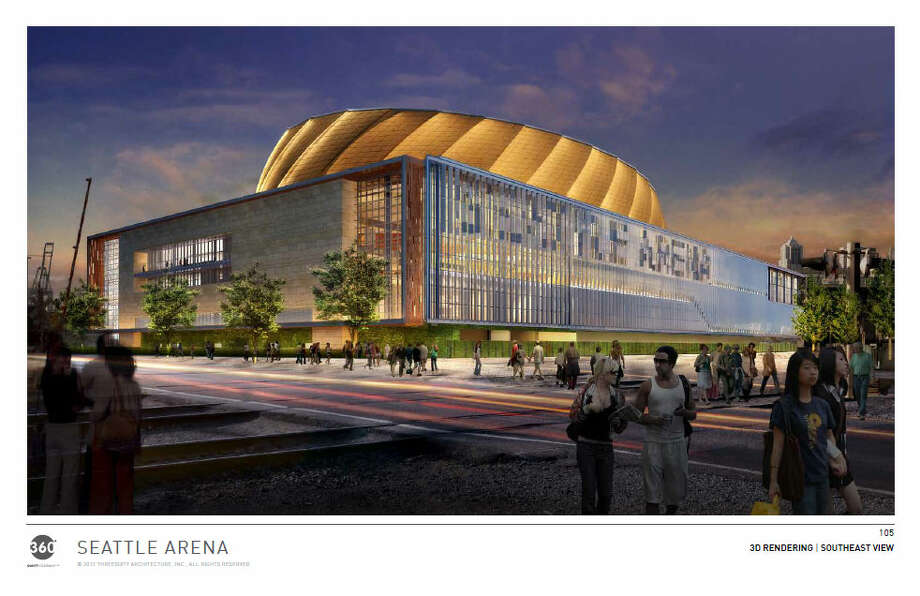 """The glass-heavy outer building is clearly differentiated in this rendering from the orange """"turbine,"""" in which the court (or rink) and seating bowl would be located. Photo: Via Seattle DPD, 360 Architects"""