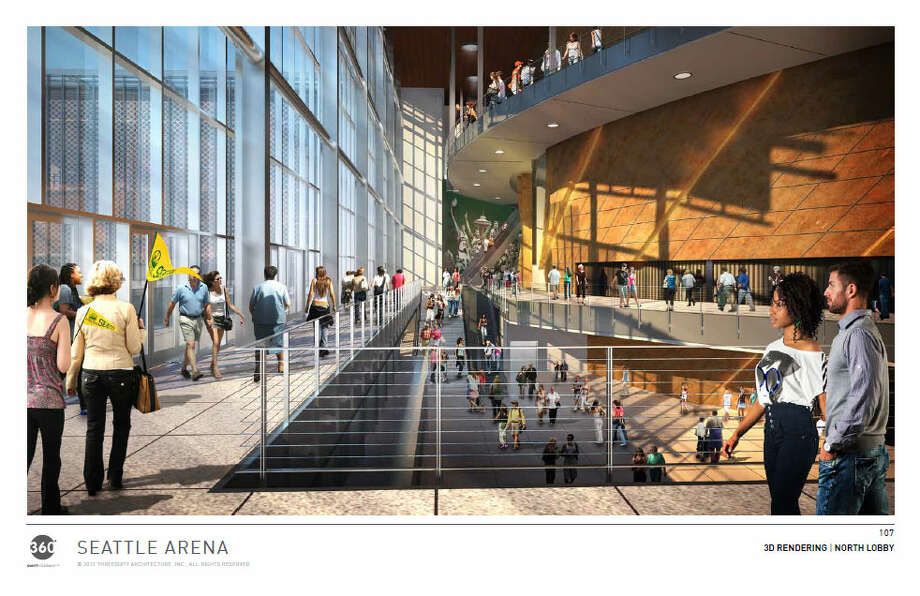 And now we move inside the proposed arena, where people are seen milling about the outer building before they enter the turbine. Photo: Via Seattle DPD, 360 Architects