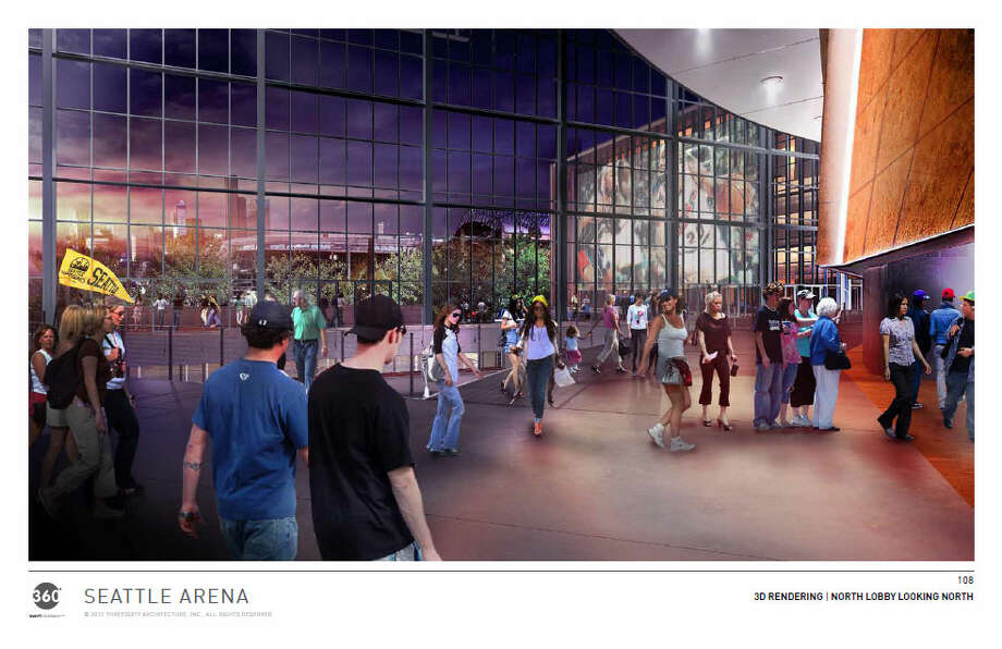 A view looking north, toward downtown Seattle, from inside the proposed arena. Photo: Via Seattle DPD, 360 Architects