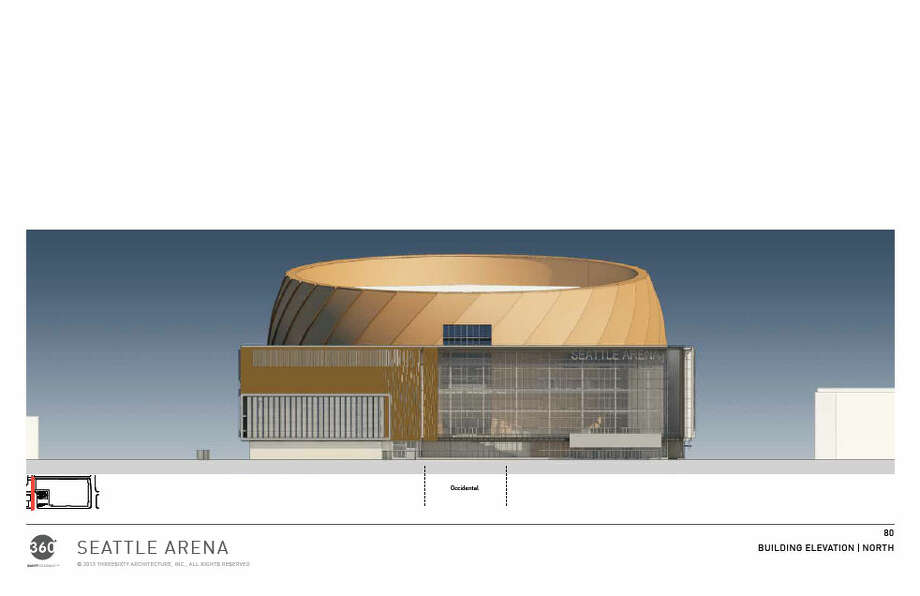 Now we get into the more technical renderings -- not that this one is particularly technical looking. Here's a straight-on view of the arena's main entrance, looking toward the south. Photo: Via Seattle DPD, 360 Architects
