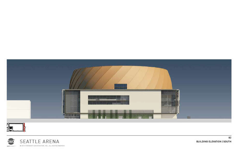 A view of the south side of the proposed arena. Photo: Via Seattle DPD, 360 Architects