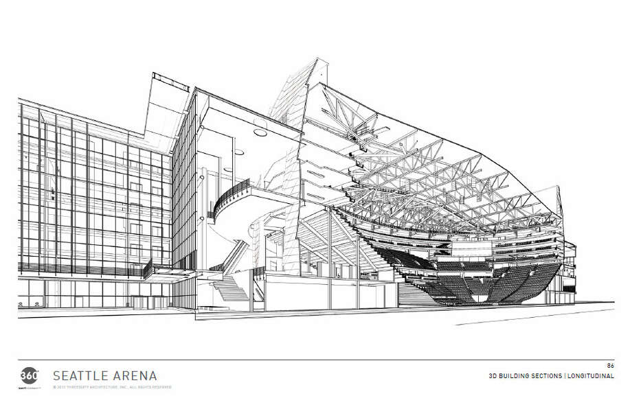 This view looking toward the southeast shows a cutaway of the arena, including the configuration of the seating bowl. Photo: Via Seattle DPD, 360 Architects