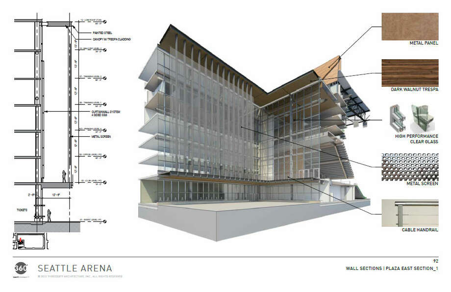 Here's a more detailed view of the outer building's facade at the main entrance. Photo: Via Seattle DPD, 360 Architects