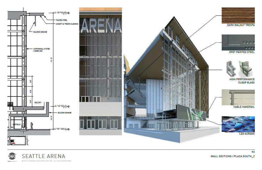 Same as the last slide, but from a different angle. Here you can see an LED screen above the main doors to the arena. Photo: Via Seattle DPD, 360 Architects