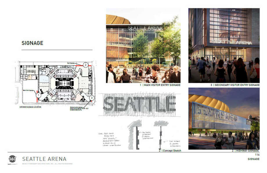 "Here, the architects outline the proposed locations for arena signage. We're assuming ""Seattle Arena"" is a placeholder until someone buys the naming rights. Photo: Via Seattle DPD, 360 Architects"