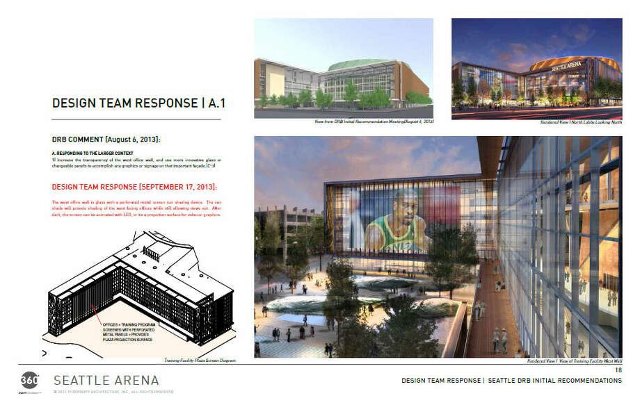 """Now we're getting into some of the design changes requested by the public. People asked that the west """"office wall"""" -- the northward spur of the arena, near the main entrance, that would house team offices and practice facilities -- be made more transparent. You can also see the proposed location of a changeable screen (shown here with an image of Gary Payton). Photo: Via Seattle DPD, 360 Architects"""