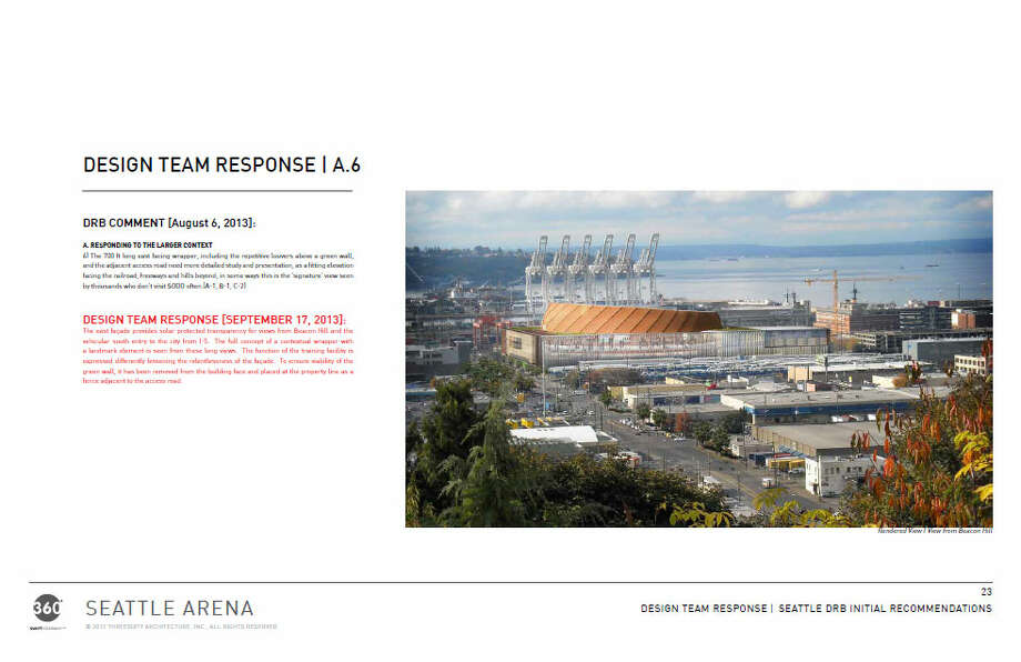 The public wanted a prettier east side of the arena, since many Seattleites would mainly see that side from I-5, Beacon Hill and elsewhere. The architects ended up differentiating the face of main part of the arena from the office section, among other tweaks. Photo: Via Seattle DPD, 360 Architects