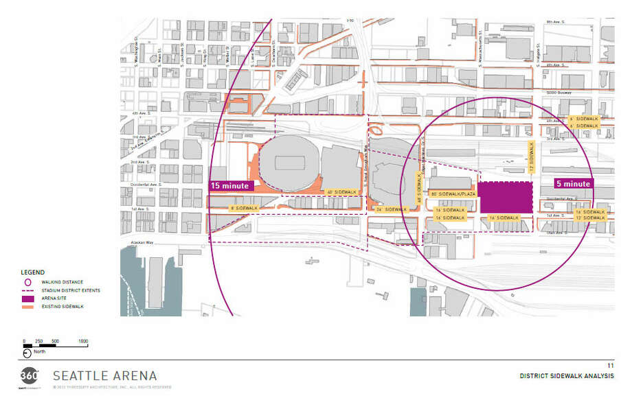 Just to give you some bearings, here's a look at exactly where the proposed arena would be situated in Sodo. The circles represent five-minute and 15-minute walking distances. Photo: Via Seattle DPD, 360 Architects