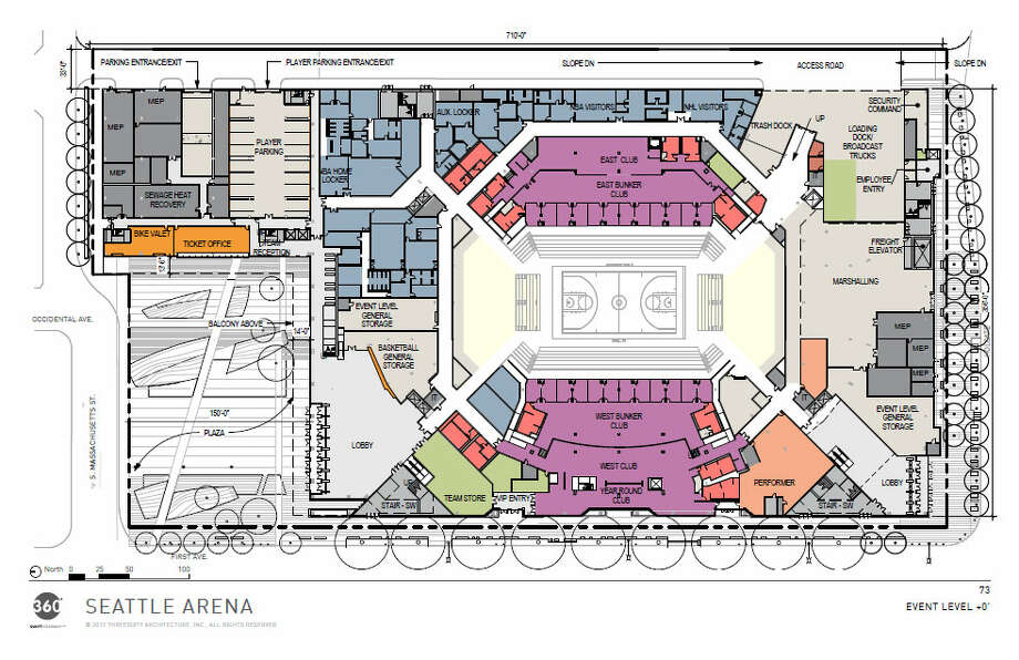And, finally, here's an overhead chart of the proposed arena's overall set-up. Photo: Via Seattle DPD, 360 Architects