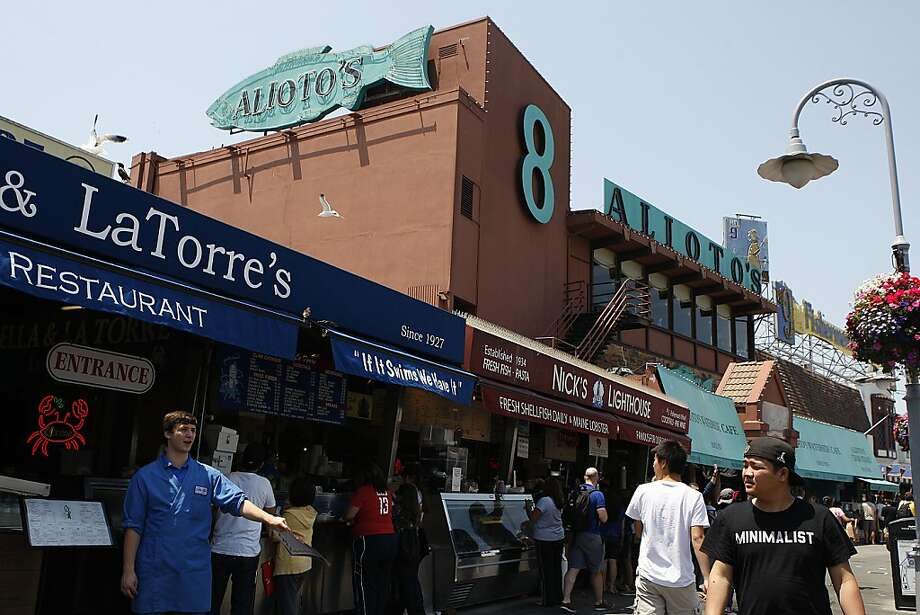 Alioto's at Fisherman's Wharf  began as a fresh fish stall founded in 1925, when the wharf consisted of an enormous lumber yard, train tracks, a union hall and wholesale fisheries. A kitchen was installed in 1938 and the restaurant officially opened. Photo: Liz Hafalia, The Chronicle
