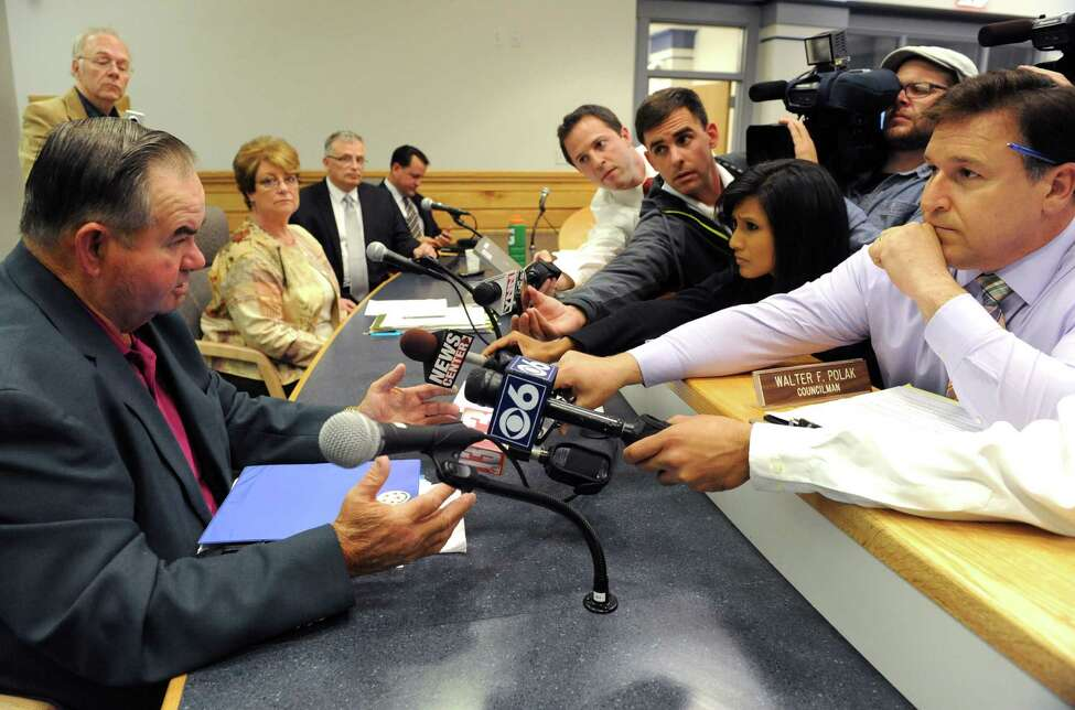 Walter F. Polak, councilman and deputy supervisor, answers the questions of local media following a Halfmoon town board meeting on Wednesday Sept. 18, 2013 in Halfmoon, N.Y. Polak filled in for Supervisor Mindy Wormuth who had a family emergency.(Michael P. Farrell/Times Union)