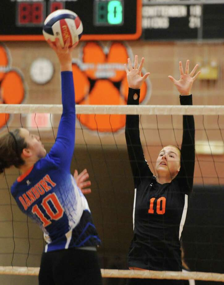 Photos from the girls volleyball match between Danbury and Ridgefield at Ridgefield High School in Ridgefield, Conn. on Wednesday, Sept. 18, 2013.  Ridgefield won in three sets, 25-19, 25-23, 25-16. Photo: Tyler Sizemore / The News-Times