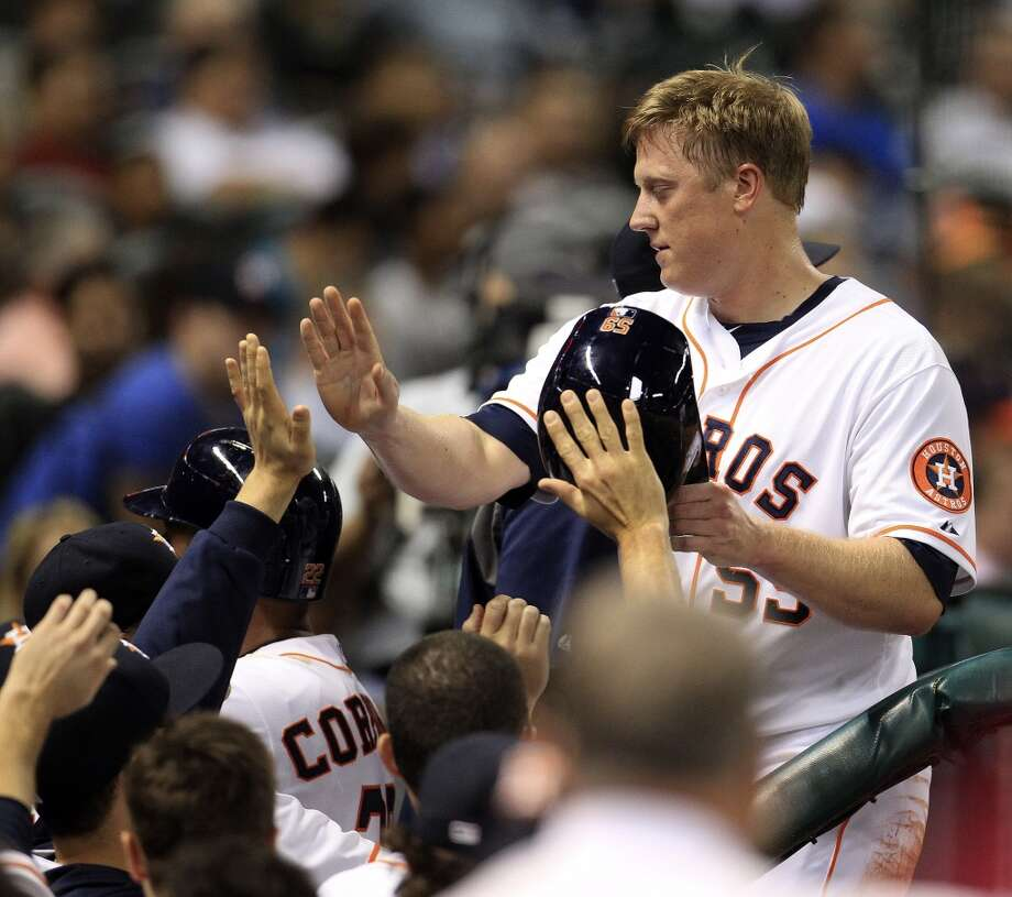 Astros left fielder Marc Krauss (59) celebrates his run. Photo: Karen Warren, Houston Chronicle