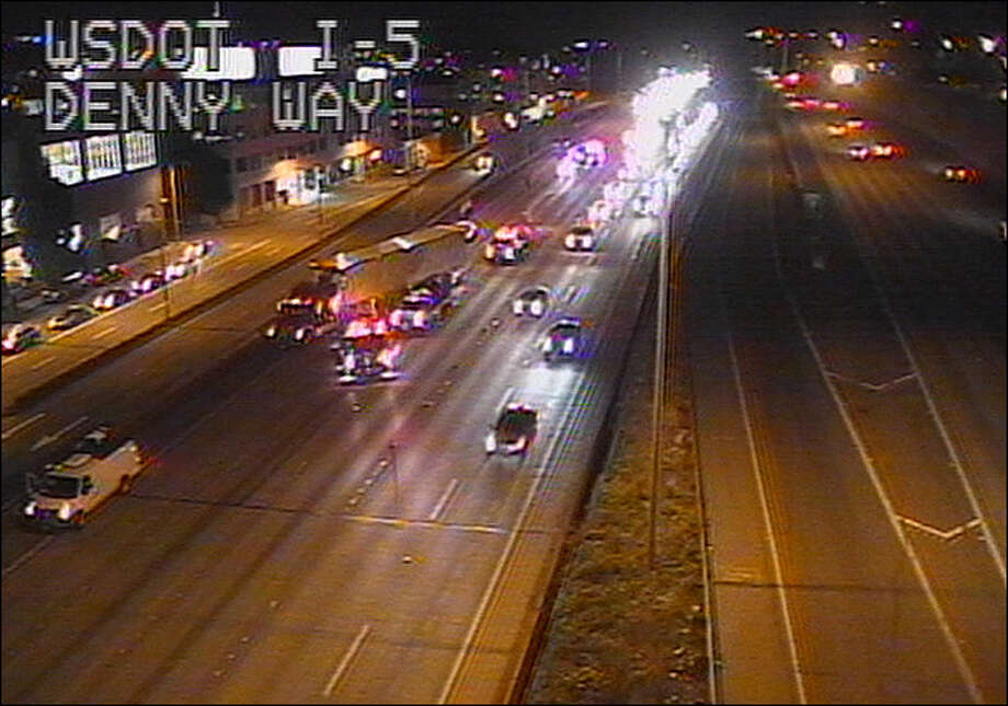 A suspected drunk driver collided with several cars while traveling south on Interstate 5 in Seattle, starting in Northgate and ending near Denny Way, where the final collision caused a car to burst into flames. Photo: WSDOT