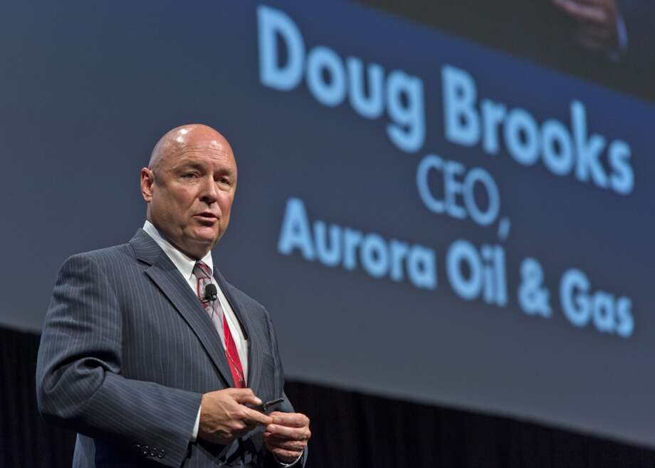 Doug Brooks, chief executive officer for Aurora Oil & Gas Ltd., speaks at the Hart Energy DUG Eagle Ford Shale conference in San Antonio, Texas, U.S., on Wednesday, Sept. 18, 2013. The conference focuses on the industry's business challenges and opportunities in identifying and developing unconventional resources. Photo: Eddie Seal, Bloomberg