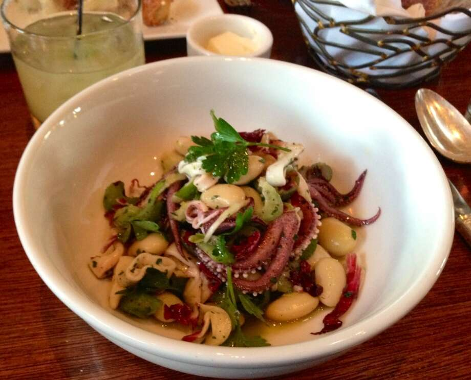 Warm calamari and bean salad ($11)