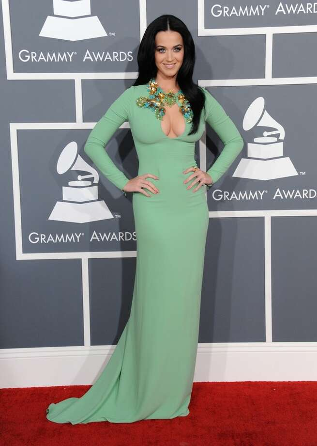 Katy Perry wearing green Gucci gown at the 2013 Grammys. Photo: Associated Press.