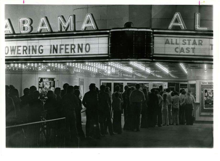 "A line of moviegoers wait to see the ""Towering Inferno"" at the Alabama Theater, which used to be located at 2922 South Shepherd. Photo: E. Joseph Deering, Houston Chronicle / Houston Post files"