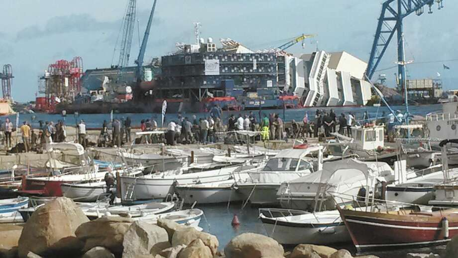 The Costa Concordia before being uprighted off the coast of Italy.  Courtesy photo.