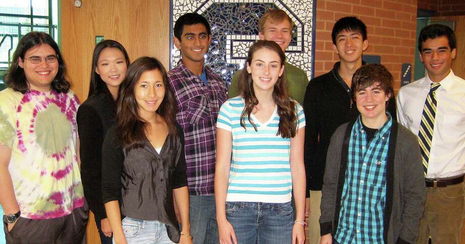 Nine students at Staples High School have been selected as National Merit Scholarship semifinalists. They are, back row from left: Ben Goldschlager, Katherine Zhou, Mrinal Kumar, Charles Jersey, Warren Schorr and Steven Sobel; front row:  Eliza Llewellyn, Sara Fox and Amanda Mezoff. Photo: Contributed Photo / Westport News contributed