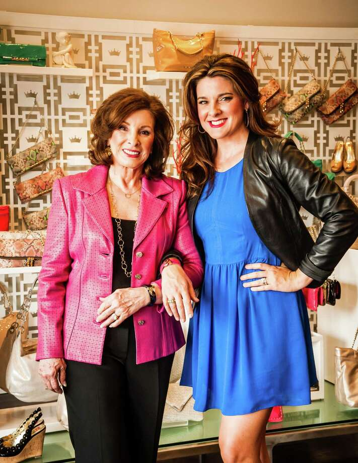 Elaine Turner, right, and her mother, Marlaine White.  A portion of profits from the sale of Turner's Bella clutch ($225) will benefit cancer research groups. Photo: Myke Toman / Toman Imagery