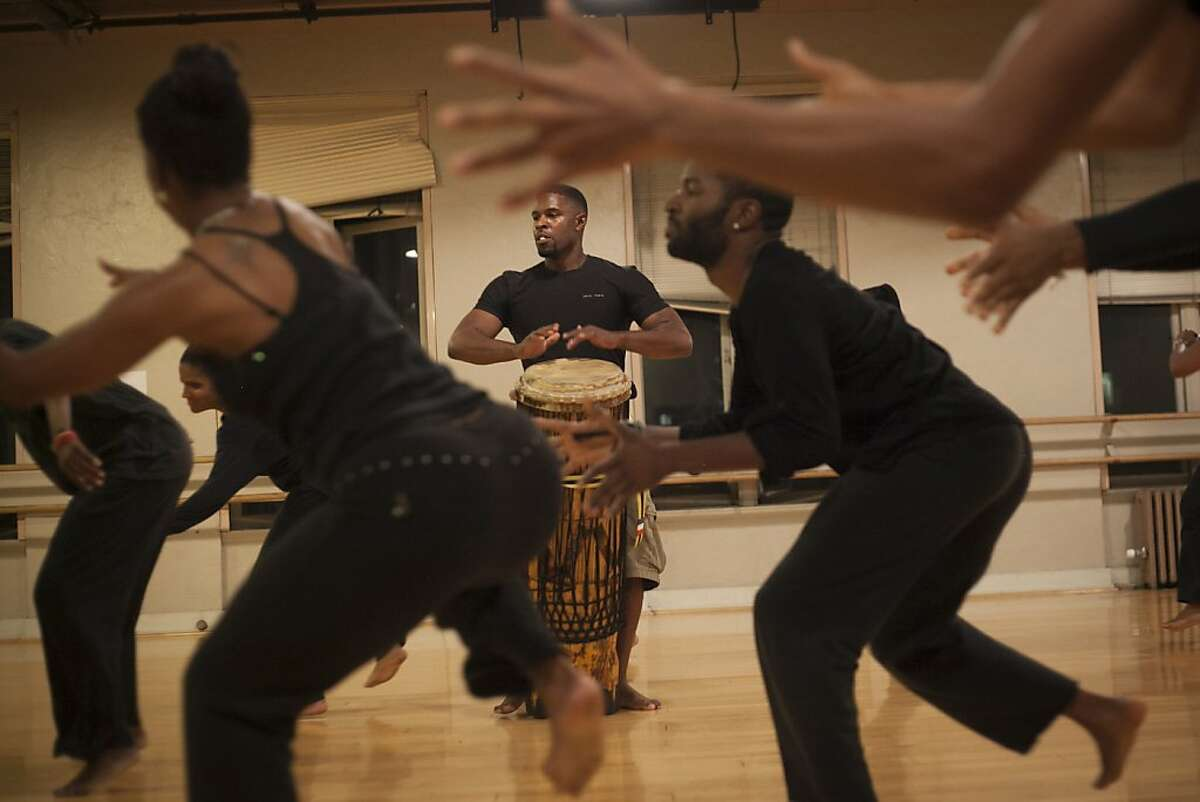 Drummer Kiazi Malonga during a rehearsal for Down the Conga Line on September 18th 2013. Dimensions Dance Theater which celebrates its 40th birthday this year, plans to take the show to Brazzaville, the capital of Congo.