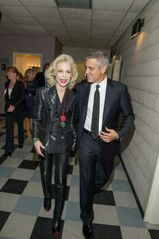 Lynn Wyatt and George Clooney, backstage during the Brillant Lecture Series event at the Wortham Center in Houston on May 3, 2012. Photo: Fulton Davenport, Photographer / © Copyright PWL Studio