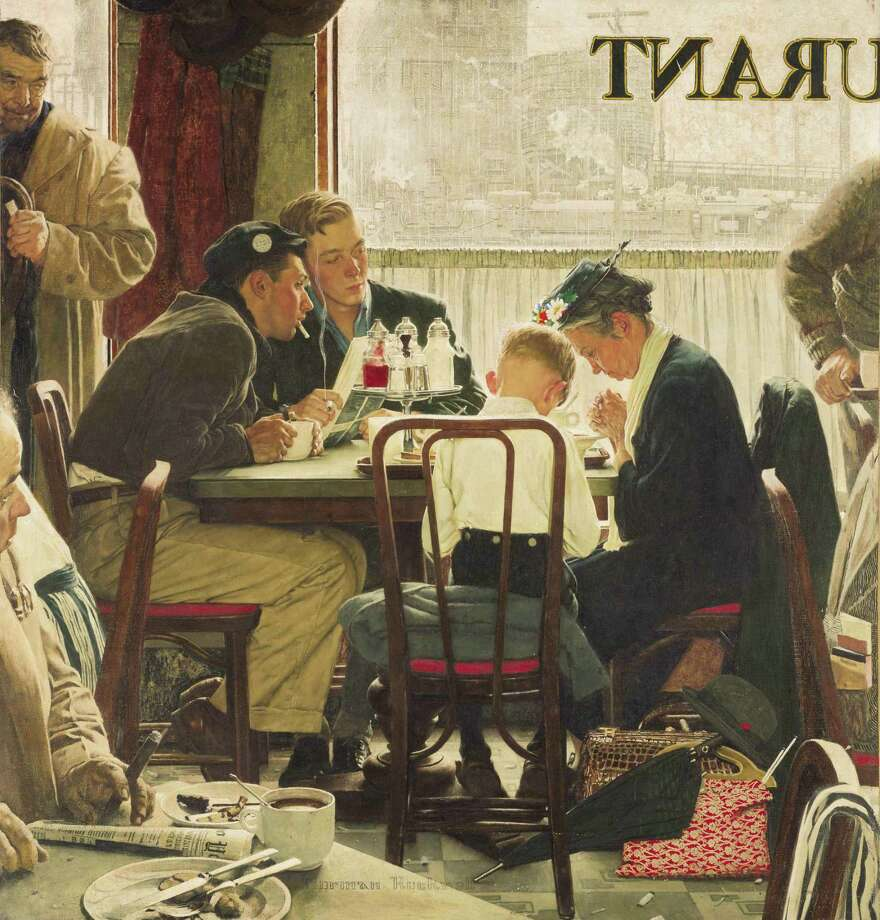 "This undated photo provided by Sotheby's shows the popular Norman Rockwell masterpiece ""Saying Grace,"" which is heading for the auction block. It is among seven works by The Saturday Evening Post illustrator going on sale at Sotheby's in New York on Dec. 4. (AP Photo/Sotheby's) ORG XMIT: NYR102 / Sotheby's"
