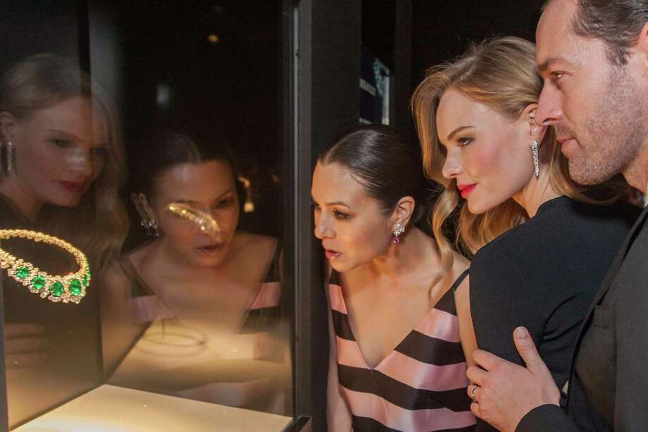"China Chow, Kate Bosworth and Michael Polish take in one of the displays at the opening party for the ""The Art of Bulgari: La Dolce Vita & Beyond, 1950-1990"" exhibit at the de Young Museum on September 18, 2013. Photo: Drew Altizer Photography / ©Drew Altizer Photography 2013"