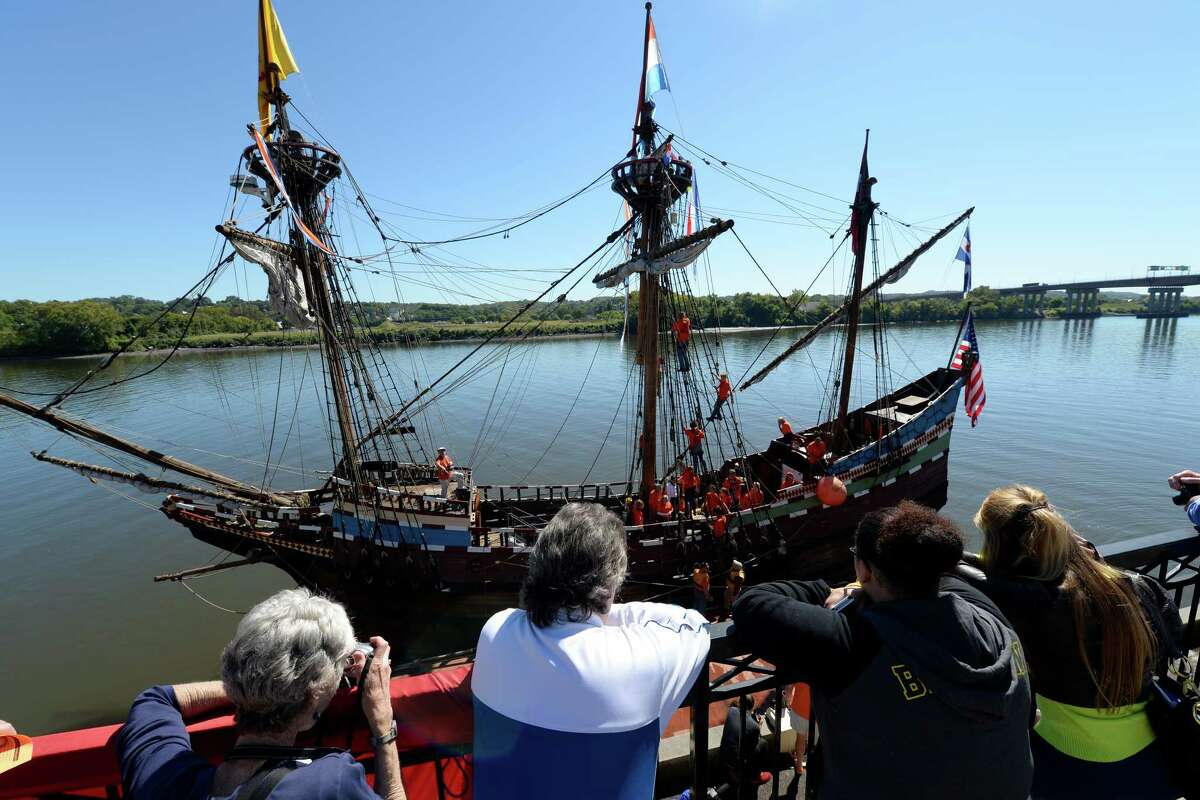 The replica of Henry Hudson's ship the Half Moon arrives a it's mooring at the Corning Preserve this morning Sept 19, 2013 as parents of the crew wait above the river in Albany, N.Y. (Skip Dickstein/Times Union)