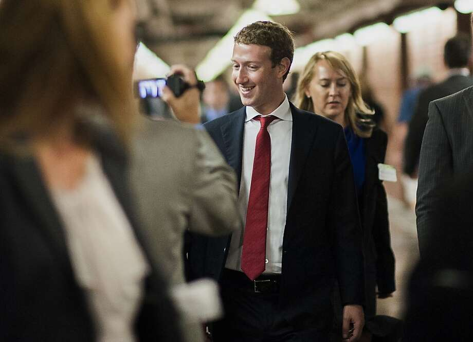 Facebook CEO Mark Zuckerberg doffed his usual hooded sweatshirt for his meetings on Capitol Hill. Photo: Pete Marovich, Bloomberg