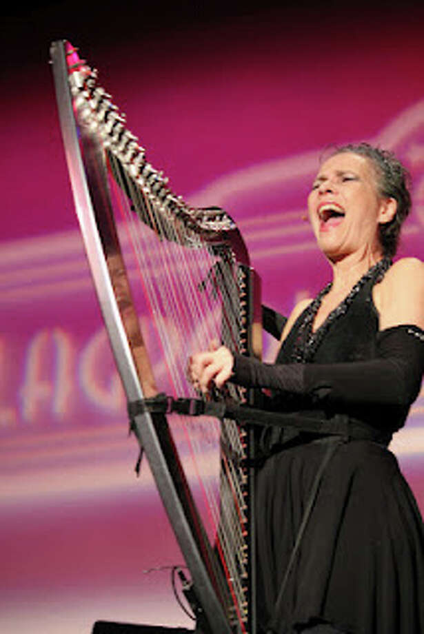 Deborah Henson-Conant, who plays an electric harp like a rock star, will perform in Newtown on Saturday, Sept. 28, as the guest artist of The Flagpole Radio Cafe. Photo: Contributed Photo