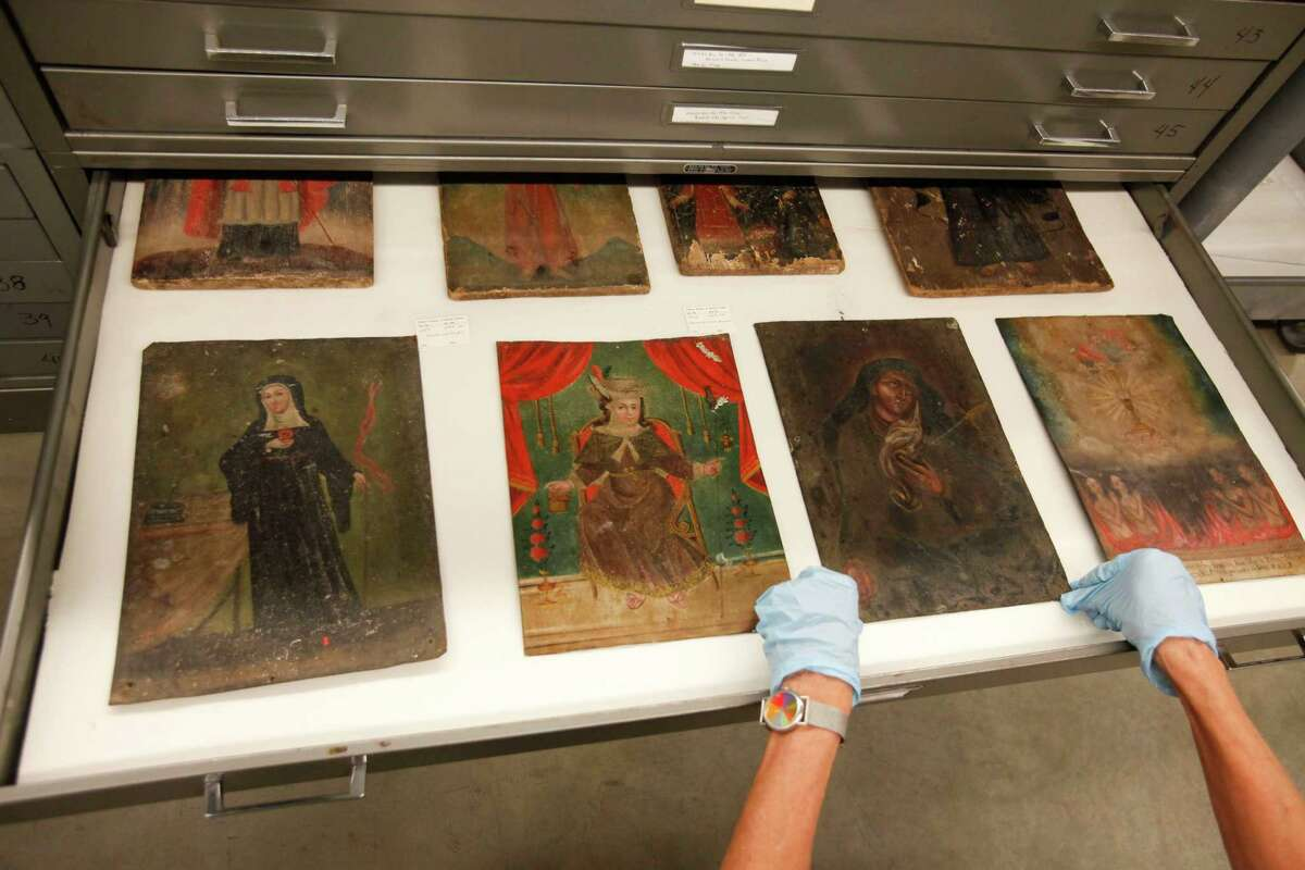 Art stored at the Museum of Natural Science's Marconi street warehouse, which will allow visitors, for a price, to tour same, Sept. 19, 2013 in Houston.