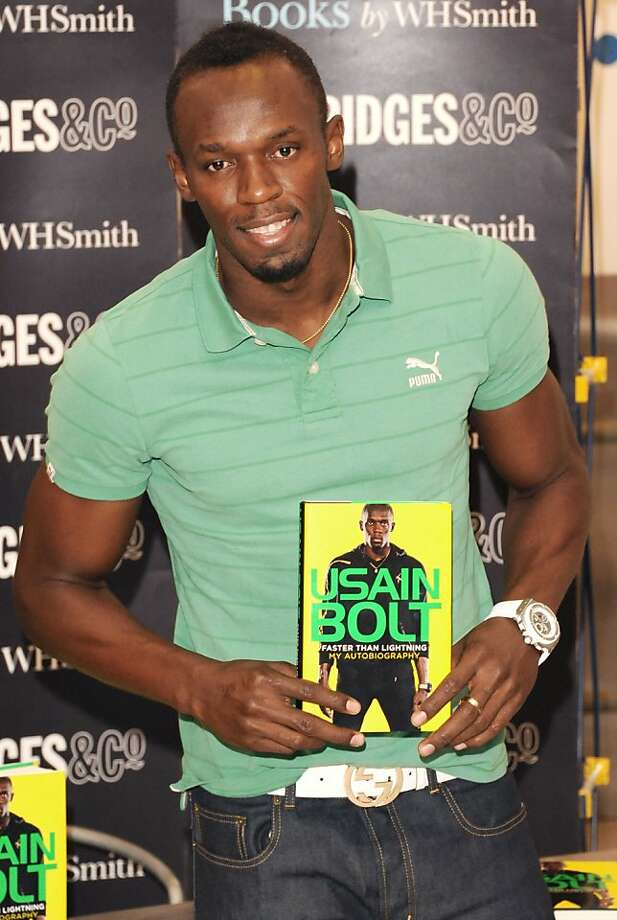 "LONDON, UNITED KINGDOM - SEPTEMBER 19: Usain Bolt meets fans and signs copies of his autobiography - ""Faster Than Lightning"" at Selfridges on September 19, 2013 in London, England. (Photo by Stuart C. Wilson/Getty Images) Photo: Stuart C. Wilson, Getty Images"