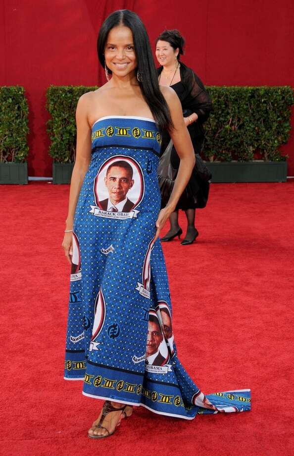 Miss:Victoria Rowell, 2009. We are all for political statements, but not on dresses, thank you. Photo: Gregg DeGuire, FilmMagic