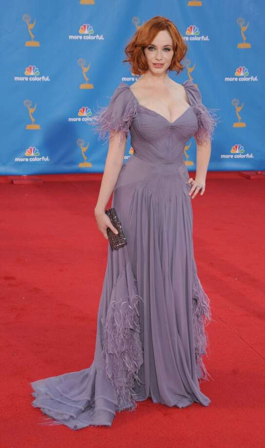 Miss:Christina Hendricks, 2010. While the color is rather pretty with her red hair and pale skin, the overall dress misses the mark. Photo: Gregg DeGuire, FilmMagic