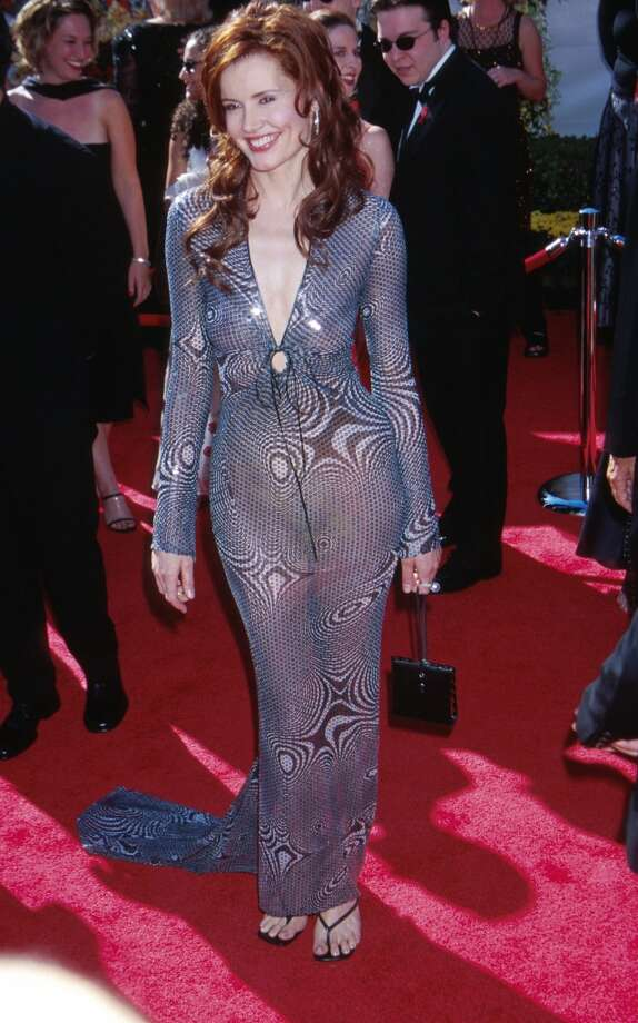Miss:Geena Davis, 2000.  Oh, Geena. Just no. This  sheer Pamela Dennis dress and flip-flop-like shoes are a mess. Photo: Scott Gries, Getty Images