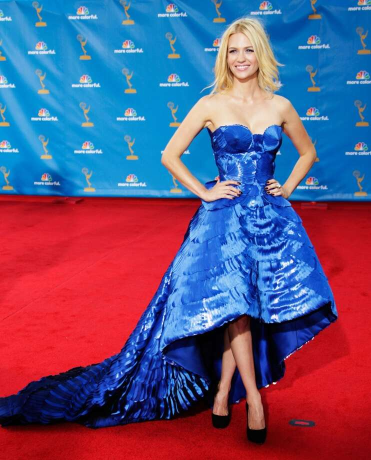 Hit: January Jones, 2010. Jones ditched the Betty Draper garb for this structured blue Versace dress and loose, messy hair. Photo: Jeff Vespa, WireImage