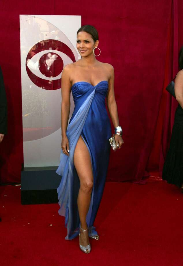 Hit:Halle Berry, 2005. Another vision in blue. And Berry is rocking the leg, way before Angelina's gams made their 2012 Oscars debut. Photo: Jason Merritt, FilmMagic