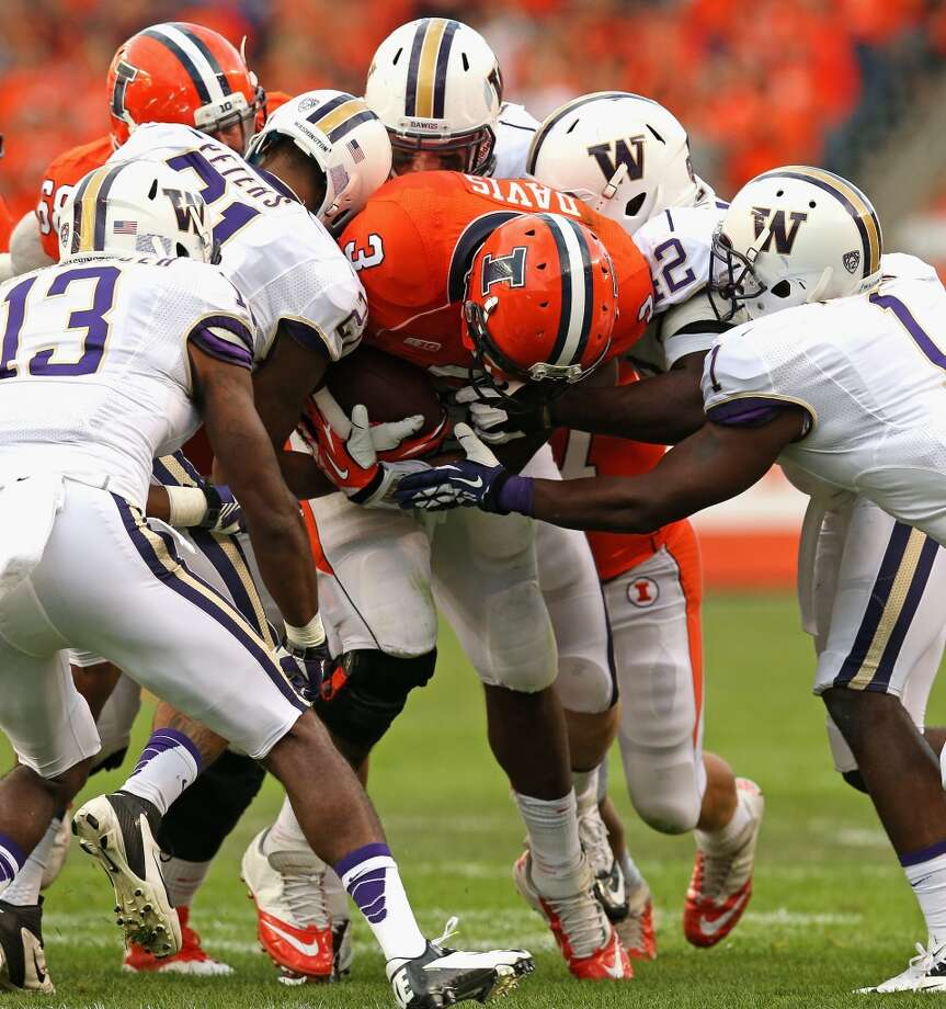 5. Will the Dawgs suffer a letdown?  Last week, Washington played its first game since the eye-opening  bludgeoning of Boise State on national TV on Aug. 31. Last Saturday, against an Illinois team that clearly didn't match up talent-wise, the Huskies took care of business, but they had a large, hostile crowd in an NFL venue (Soldier Field) to help them retain their edge. Even then, they didn't look particularly crisp in taking down the Fighting Illini.  In Idaho State, the Dawgs again face a clearly inferior opponent. This time, however, they do so from the comfort of home, but that's not necessarily a good thing, because while the Huskies should have no trouble dispatching the Bengals, it's how they do it that matters. Will they look sharp, taking the lowly FCS team out of the game from the opening kickoff? Or will they put together a sloppy, lackadaisical performance that leaves fans feeling ambivalent heading into the Pac-12 schedule?  The way the Huskies approach this matchup will say a lot about the team's mentality heading forward. Photo: Jonathan Daniel, Getty Images