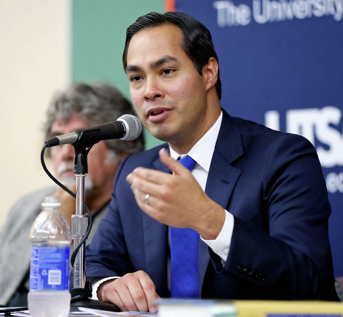 Mayor Julian Castro speaks during the San Antonio Express-News and UTSA Town Hall Forum Future of Alamo Plaza Thursday Sept. 19, 2013 at the UTSA Downtown Campus.
