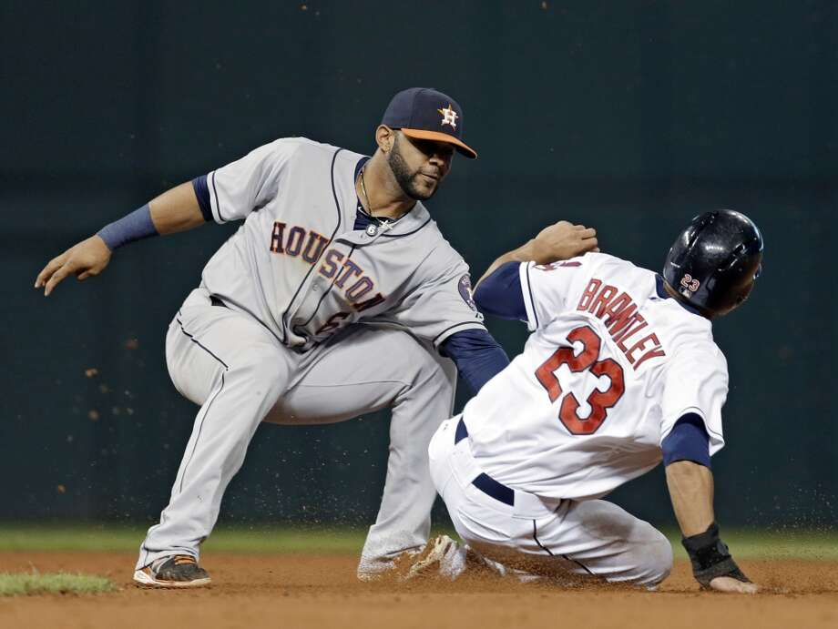 Astros shortstop Jonathan Villar tags out Michael Brantley trying to steal second. Photo: Mark Duncan, Associated Press
